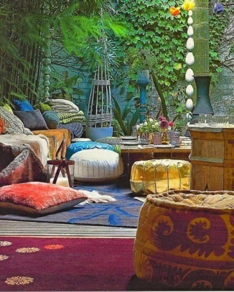 sencillas ideas de decoración de jardines boho chic
