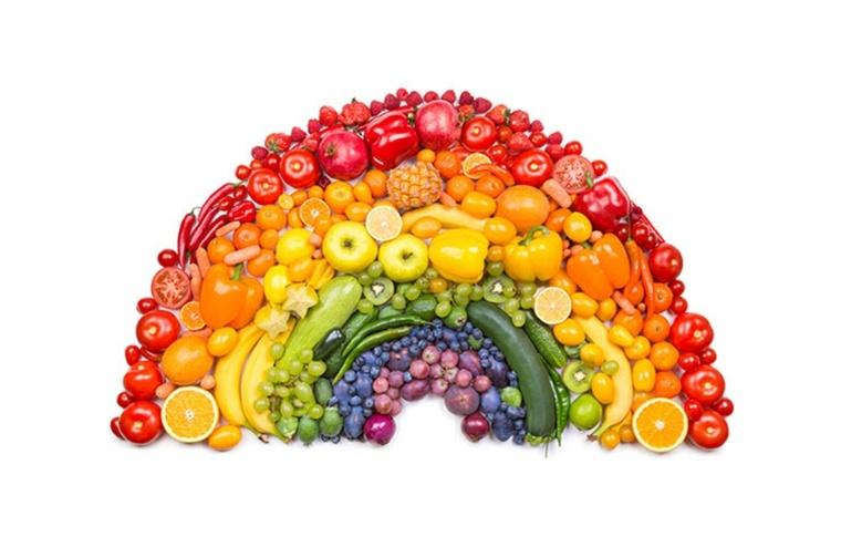 alimentos de colores del arcoíris