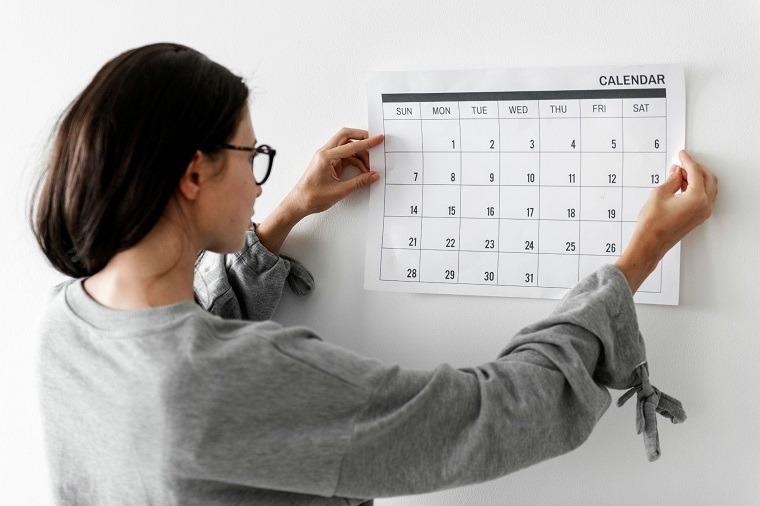 Calendario de rutina para ejercicio