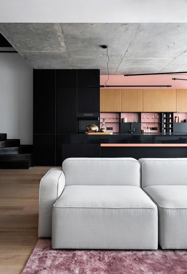 combinacion-rosa-megro-cocina