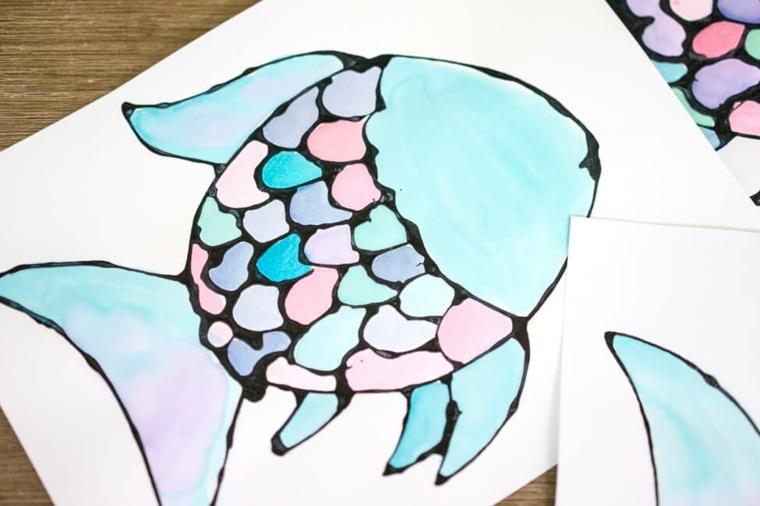 Dibujo de un pez coloreado