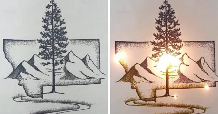dibujo hecho con polvora
