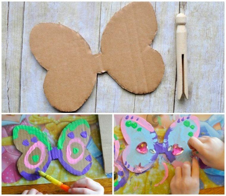 Hacer mariposa con carton y pinza de madera
