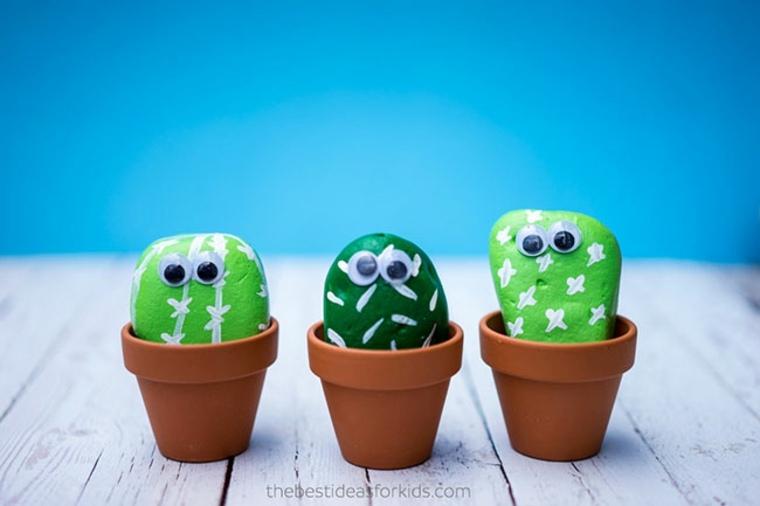 Cactus hechos con piedras