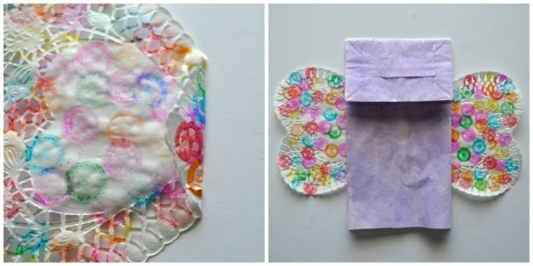 Mariposa hecha con bolsa de papel