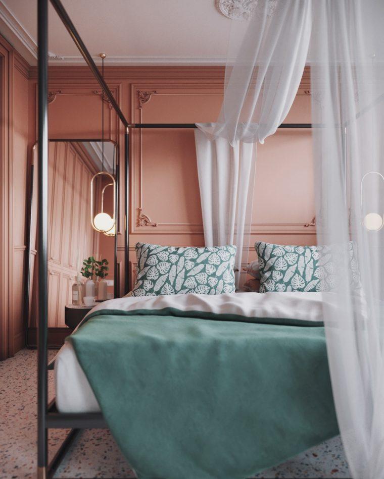 pared-color-coral-dormitorio-ideas-diseno