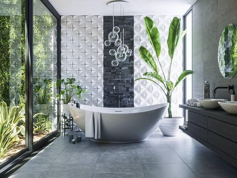 un cuarto de baño-moderno-banera