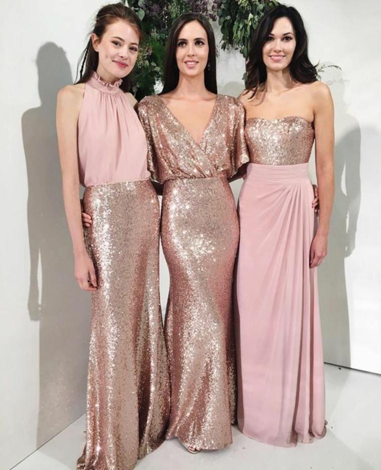 Telas de vestidos de dama de honor color rosa