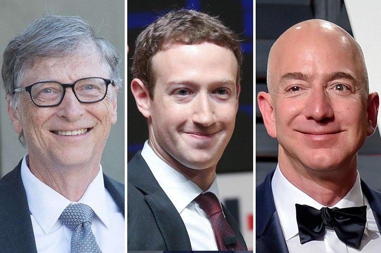 empresarios más ricos-bill-gates-mark-zuckerberg-jeff-bezos