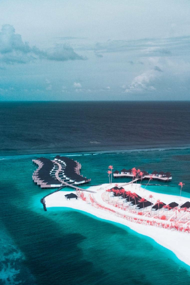 Fotografía aérea de las Maldivas