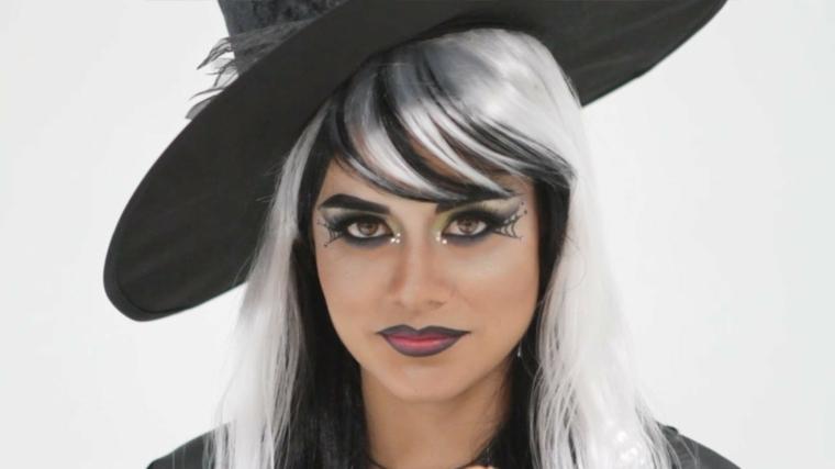 maquillaje de bruja peluca
