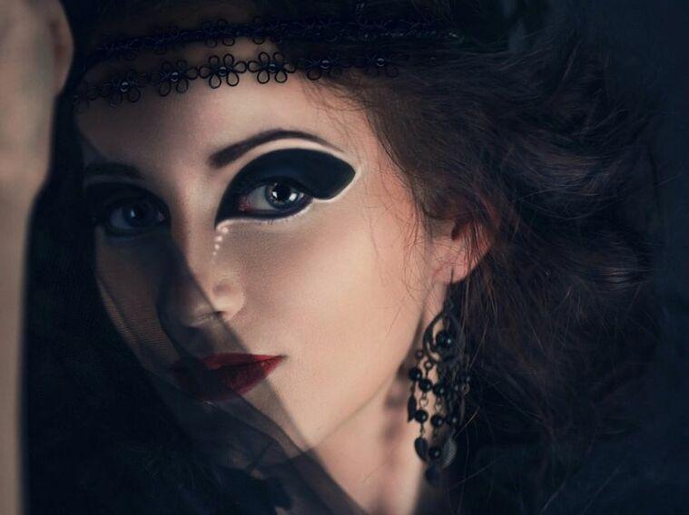 maquillaje de bruja velo