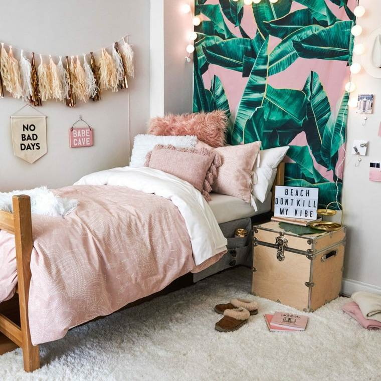 recamaras-juveniles-modernas-papel-pared-tropical