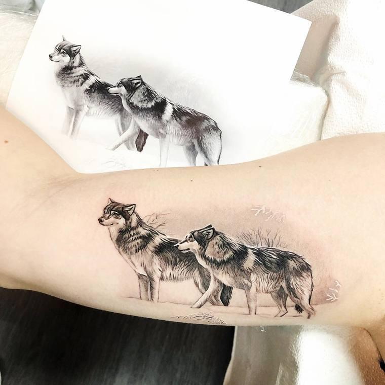 tatuajes de lobos amor