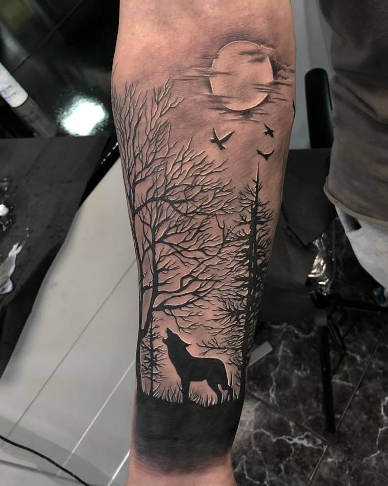 tatuajes de lobos aullar