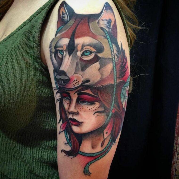 tatuajes de lobos mujer