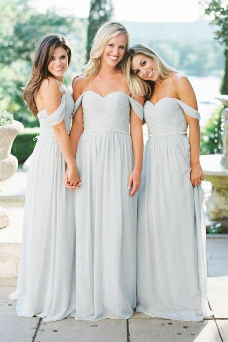 Vestidos de damas de honor blancos