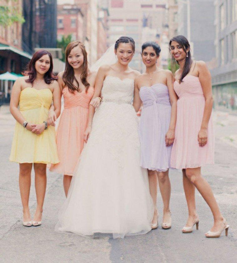 Vestidos de dama de honor en colores suaves
