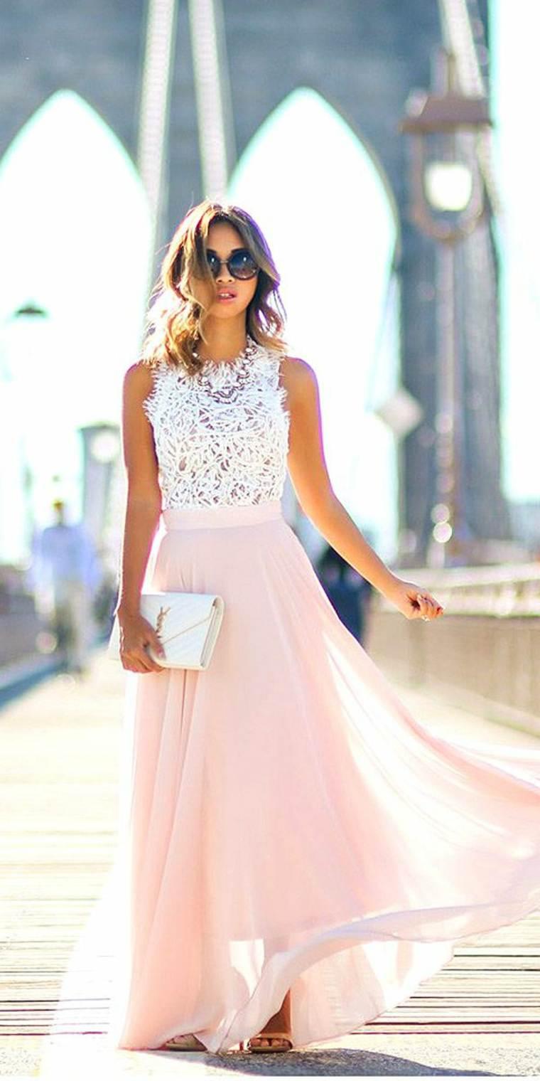 Vestidos de dama de honor largos de encaje de algodón