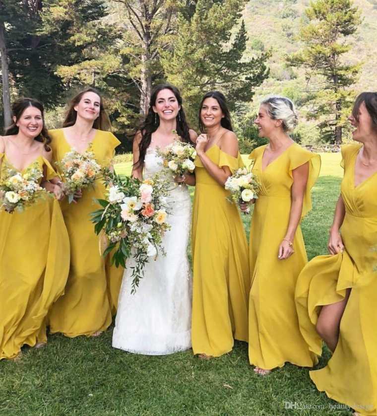 Vestidos de damas de honor amarillos