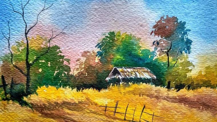aprender a pintar cabaña