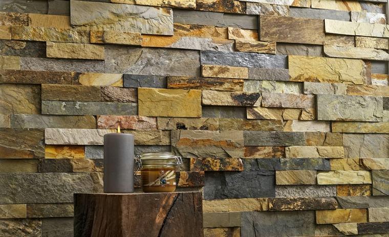 muro de piedra en interiores