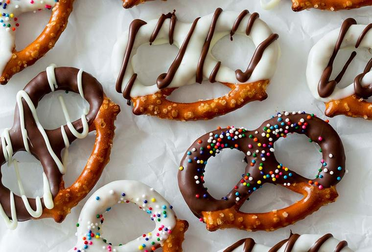 cobertura de chocolate pretzel