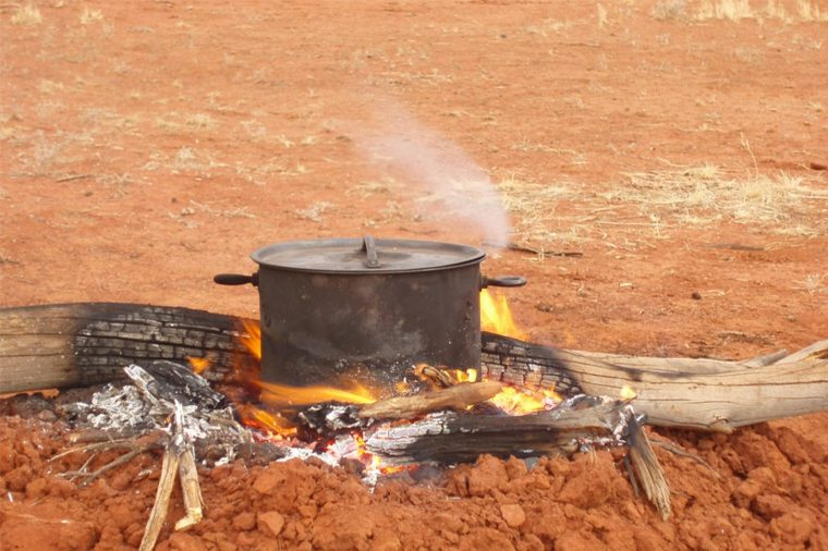 cocina a fuego abierto