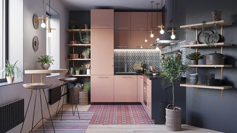 colores ideales para cocinas pequeñas-rosa