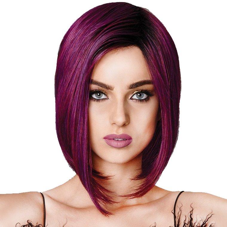 corte estilo bob purpura