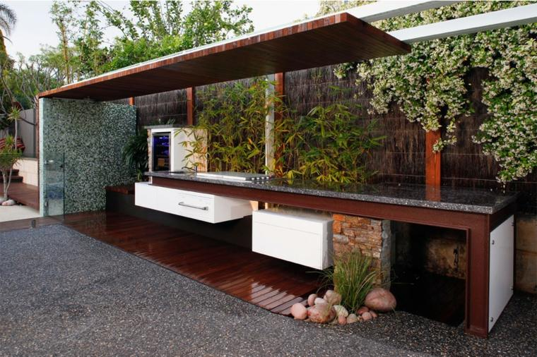cocina exterior jardín