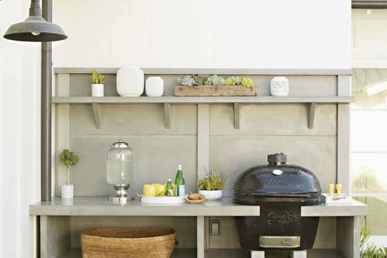 cocina exterior de concreto
