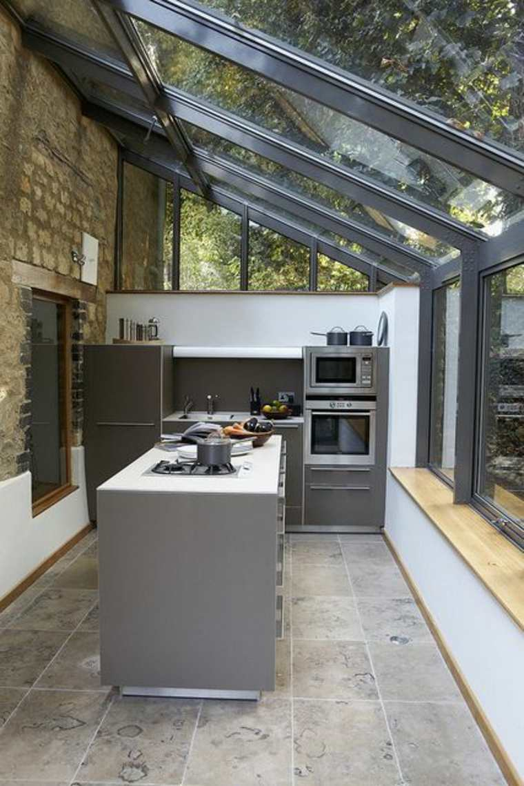 cocina moderna en la terraza