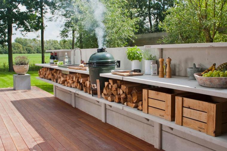 cocina de concreto en el jardín