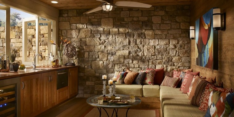 muro de piedra pared acento