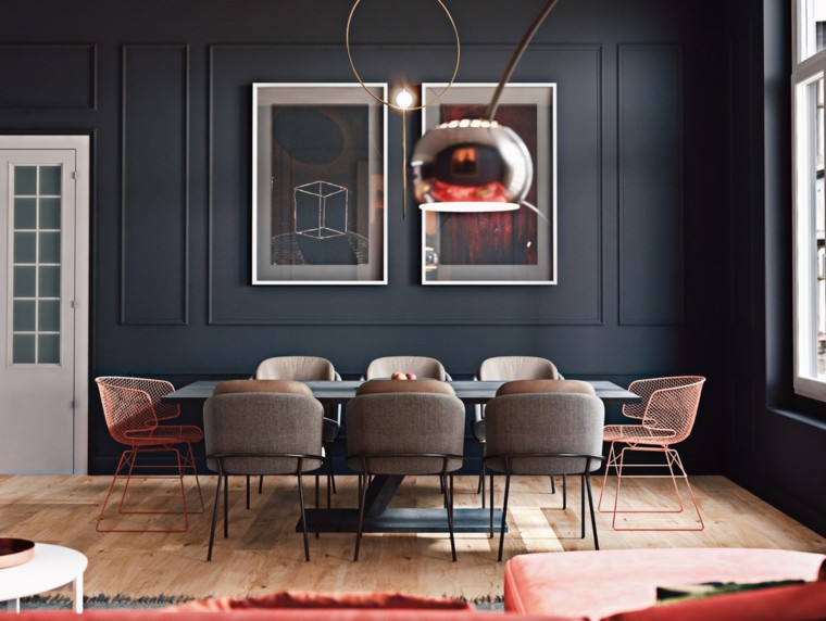 pared-color-negro-casa-comedor