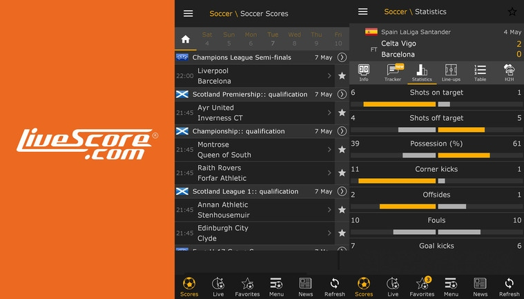app para ver futbol gratis livescore