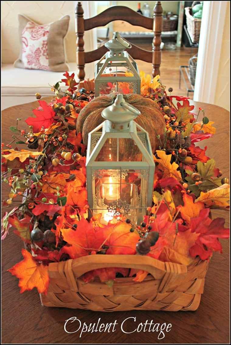 Otoño DIY Centro de mesa de otoño con linternas y calabazas rústicas