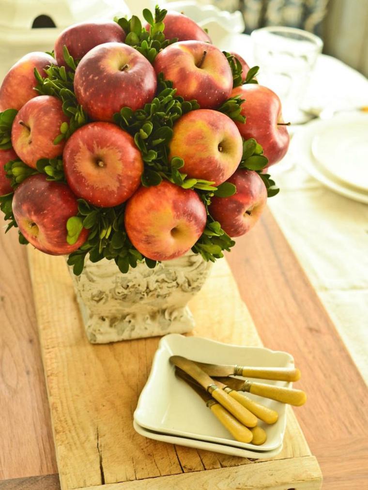 Topiario de manzanas rojas