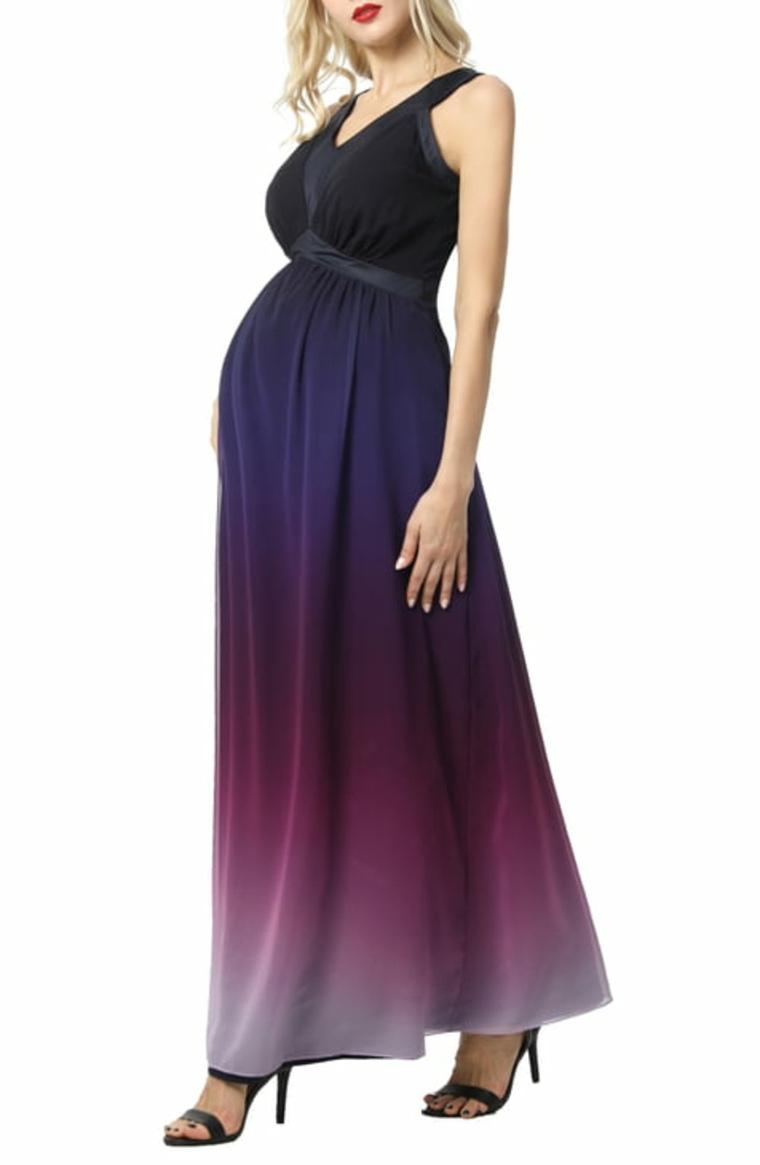 Vestido de premamá estilo ombré en tonos púrpura