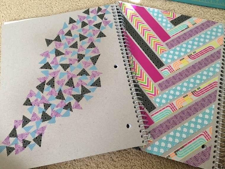 cuadernos decorados cintas