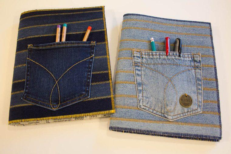 cuadernos decorados jeans