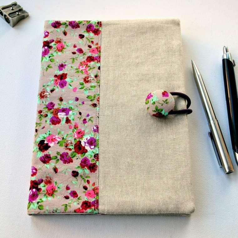 cuadernos decorados tela