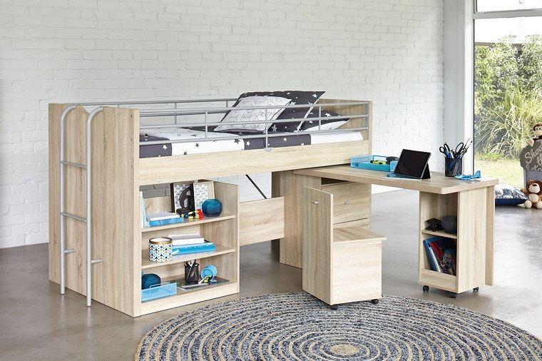 literas para niños con escritorio alfombra redonda