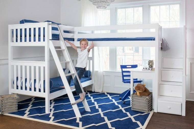 estilo-cama-litera-triple-azul