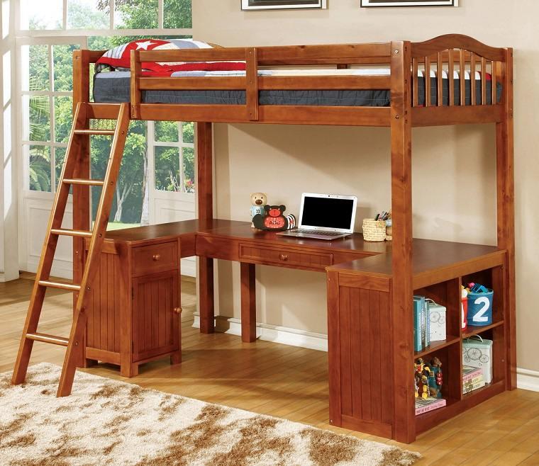 literas para niños con escritorio alfombra