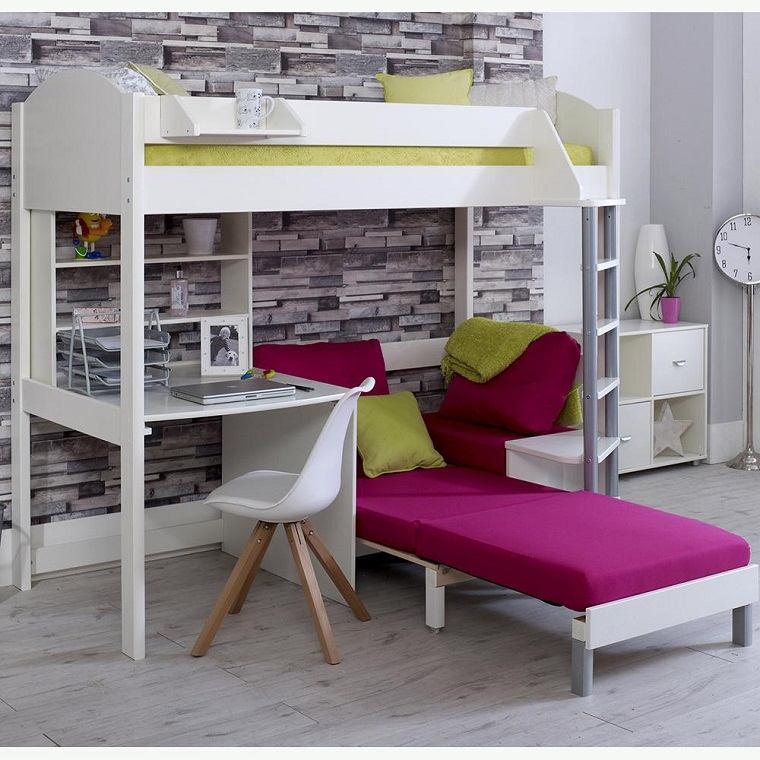 literas para niños con escritorio madera