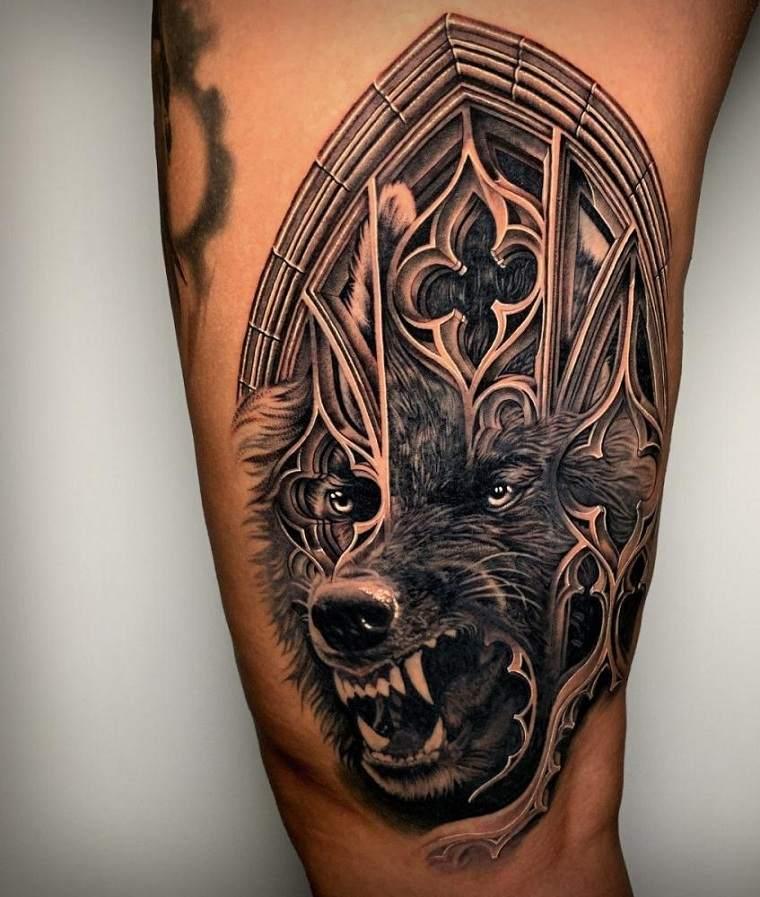 lobo-diseno-complicado-tatuaje