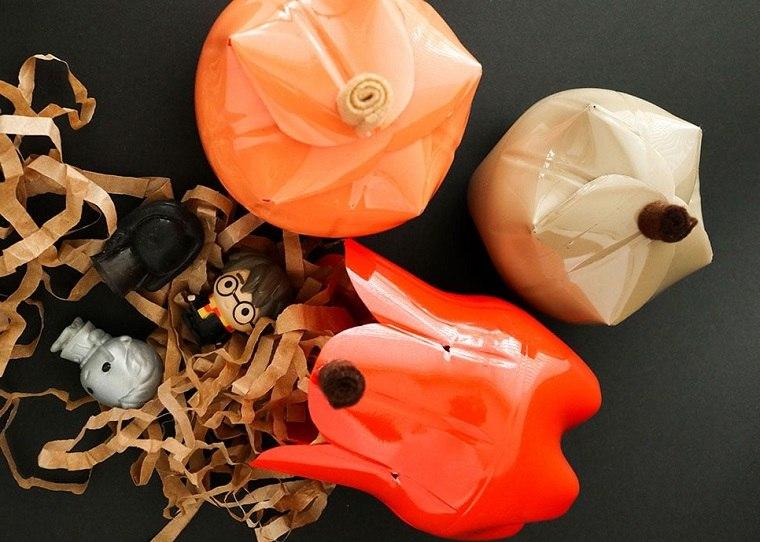 manualidades con botellas-plastico-calabazas