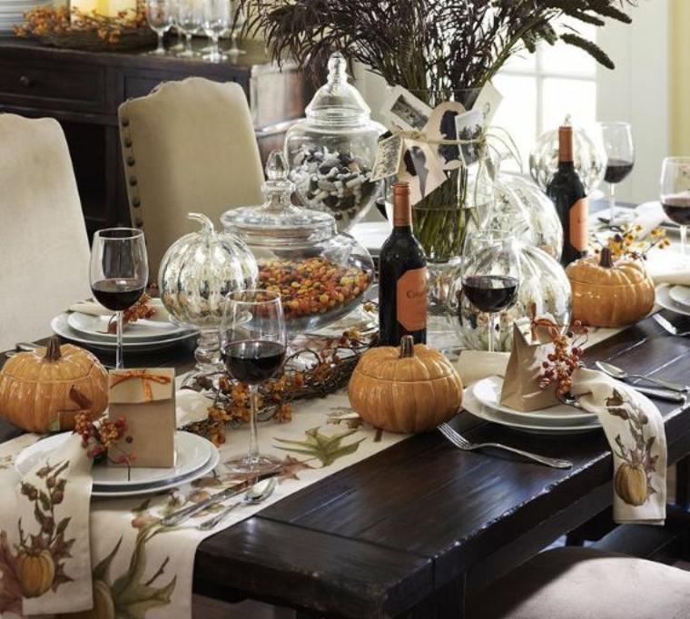 Bonita decoración de mesa otoñal